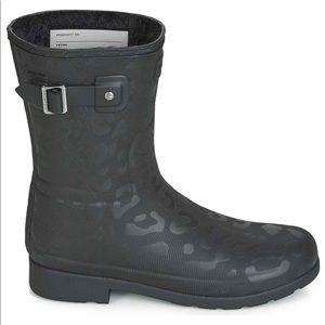 Hunter Leopard Short Boots 8